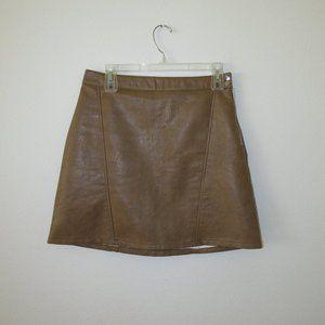 ZARA Tan Faux Leather Mini Skirt Women's Size M